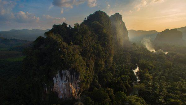khao son, carst, khao sok np, khao sok natinal park, khao sok drone, sunset over khao sok