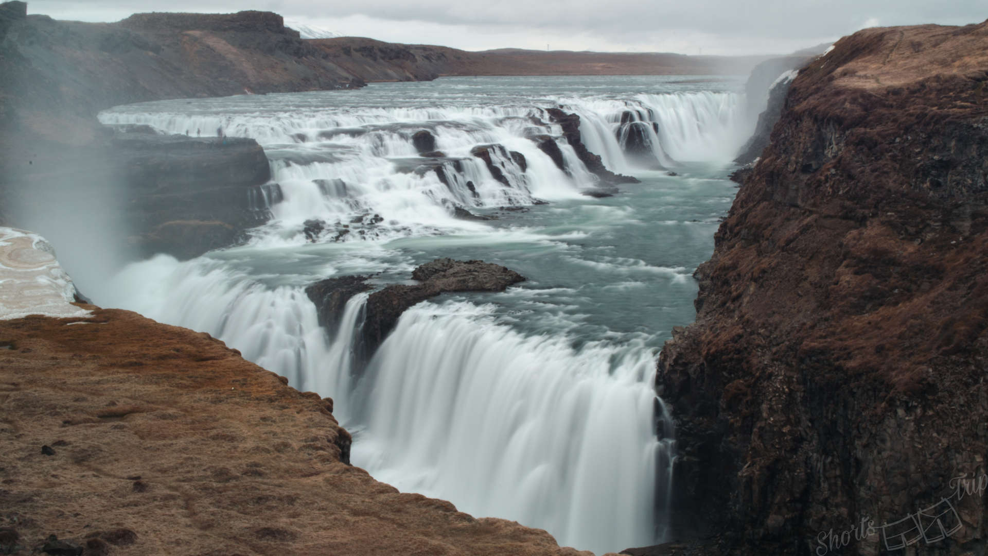 gulfoss waterfall, gulfoss long exposure