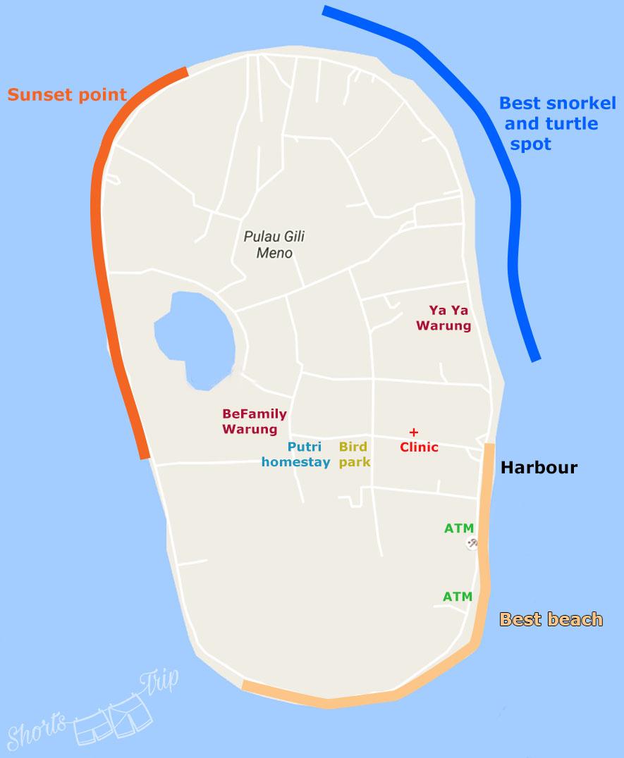 map of gili meno, gili meno, infographics gili meno, meno island, meno indonesia all you need to know