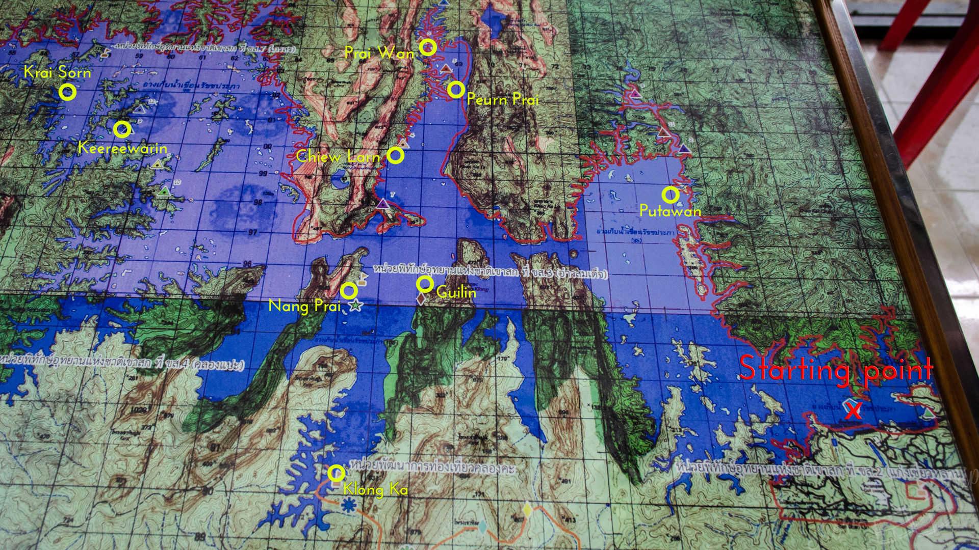 map of khao sok lake, map khao sok, map cheow lan lake, map chiew lan lake