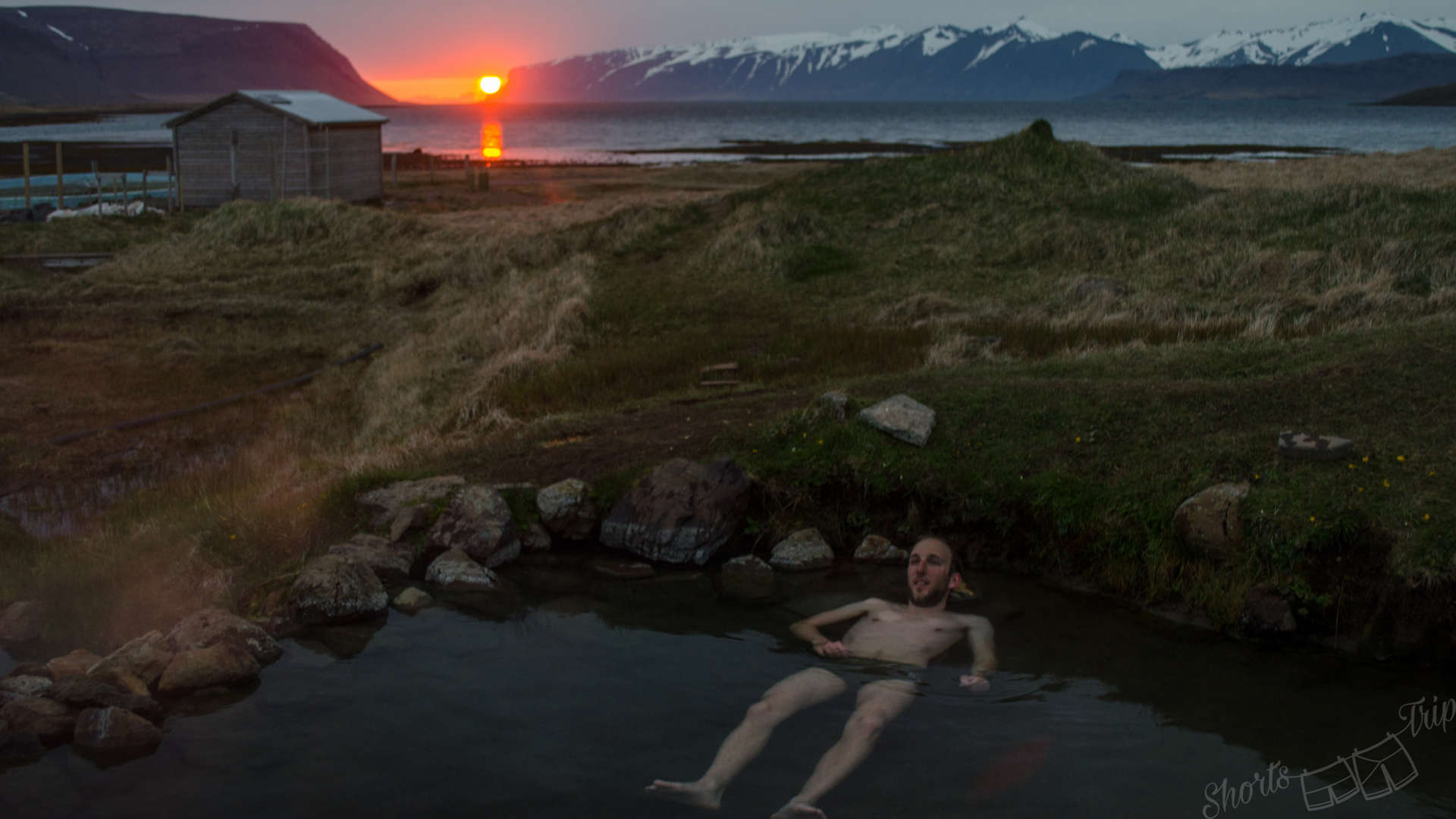 Reykjafjarðarlaug, Reykjafjarðarlaug sunset, кемпинг в Исландии