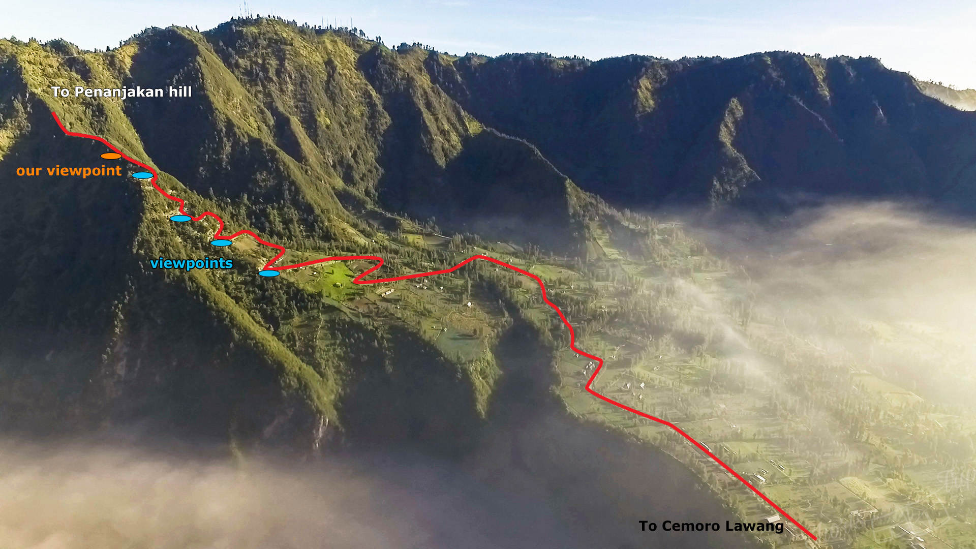 Смотровые площадки, бромо, карта бромо, чеморо лаванг, кальдера, кальдера бромо, бромо, вулкан бромо, индонезия, бромо индонезия
