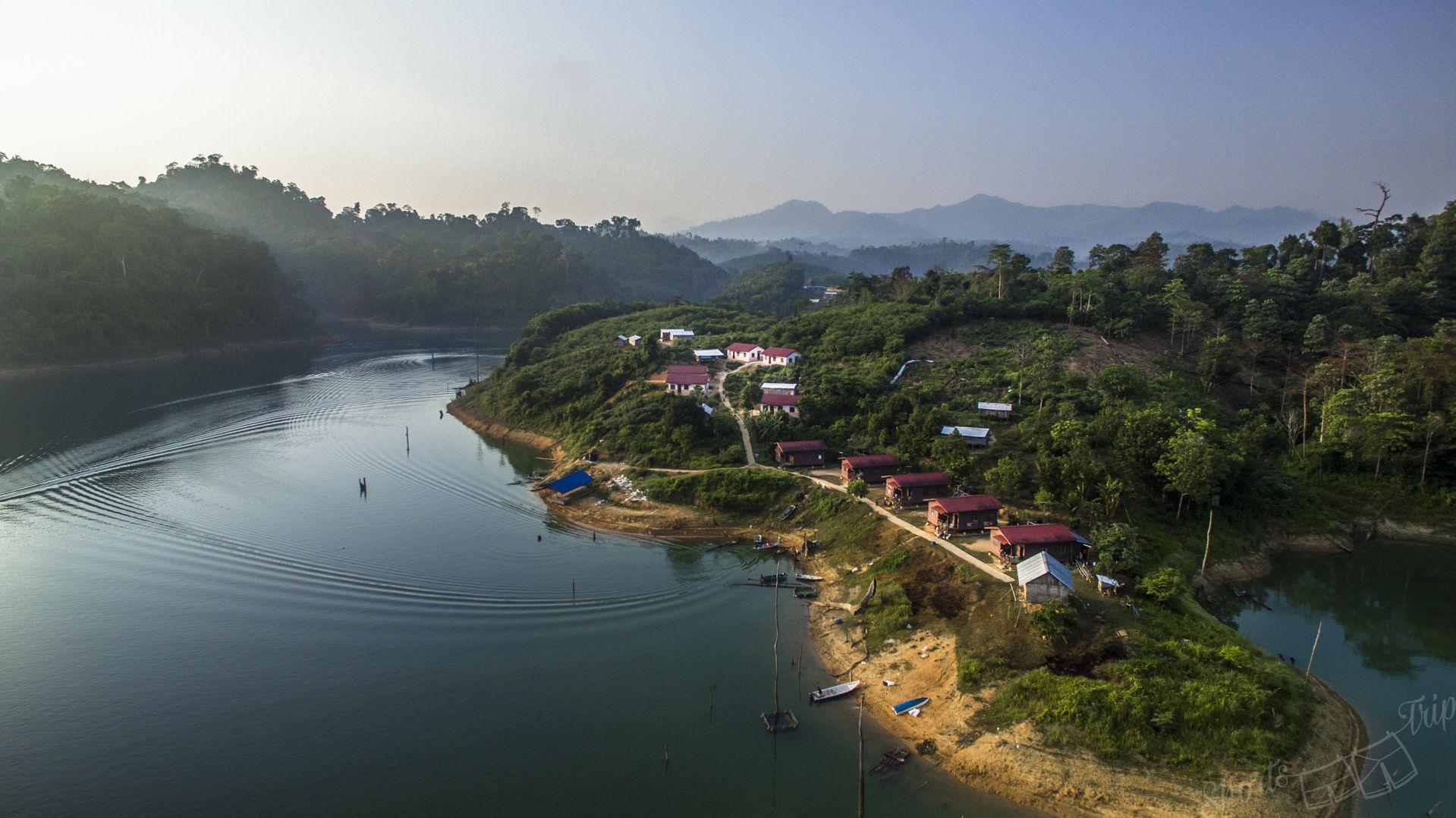 Asli village, aborigine people village, asli malaysia, asli village from drone, asli village aerial