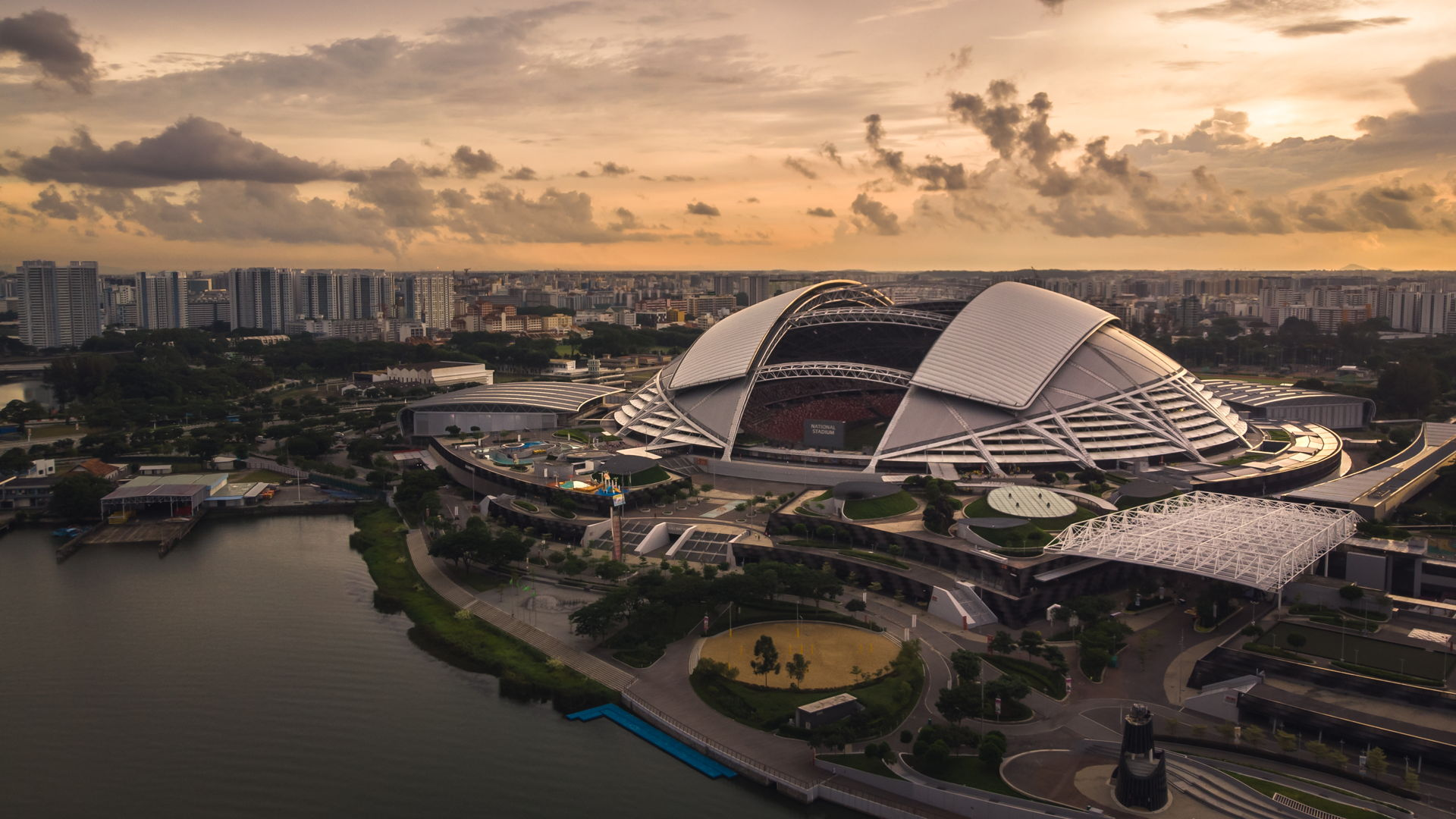 national stadium of singapore, singapore stadium drone, aerial view of national stadium of singapore, sunrise singapore stadium, drone sunrise national stadium singapore, stadium aerial, drone stadium, drone singapore, where to fly drone at singapore, singapore drone guidelines, best drone places singapore, singapore laws, singapore regulations