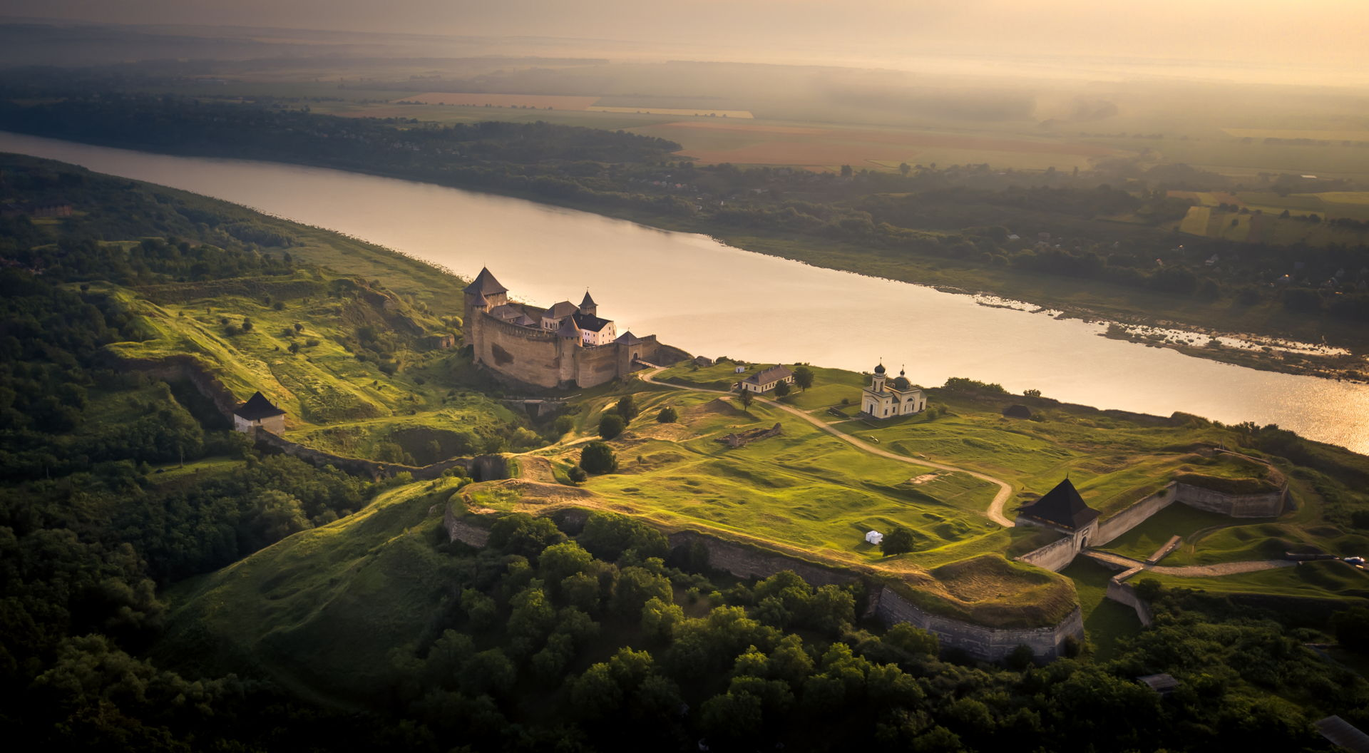 khotyn castle, seven wonders of ukraine, backpacking khotyn, how to get to khotyn, travel around ukraine, ukraine travel, drone khotyn, aerial view of khotyn, outer wall of khotyn, khotyn perimeter