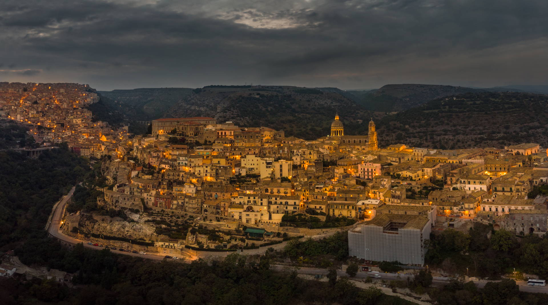 ragusa, ragusa ibla, ragusa drone, aerial view of ragusa, aerial ragusa ibla, best places to travel in sicily, sicily, italy, travel