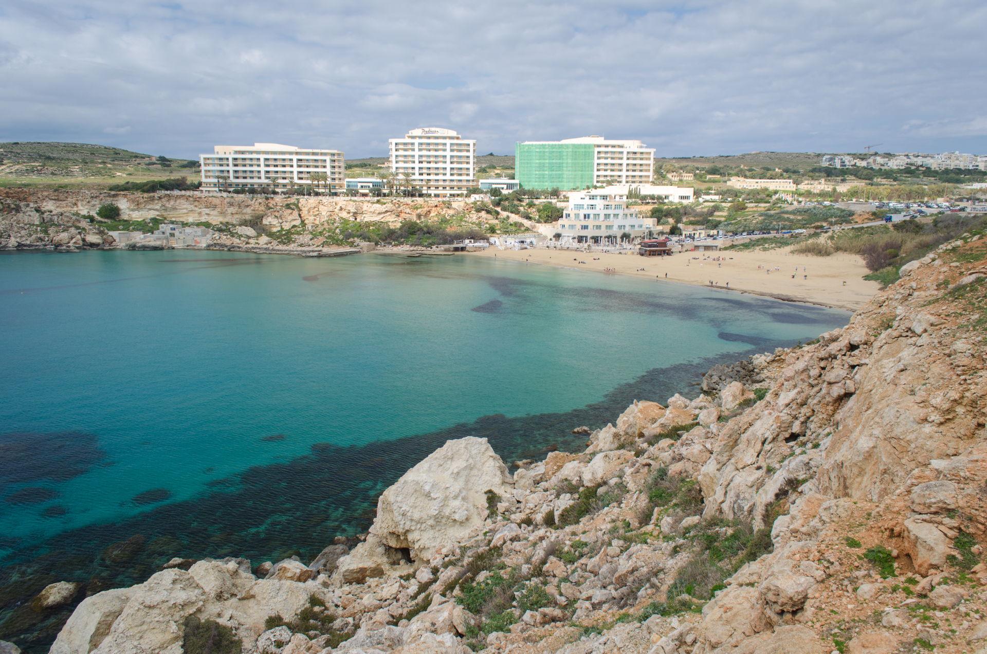 Għajn Tuffieħa, Għajn Tuffieħa tower, tower at Għajn Tuffieħa, golden bay tower, golden bay Għajn Tuffieħa, best hotel at golden bay malta