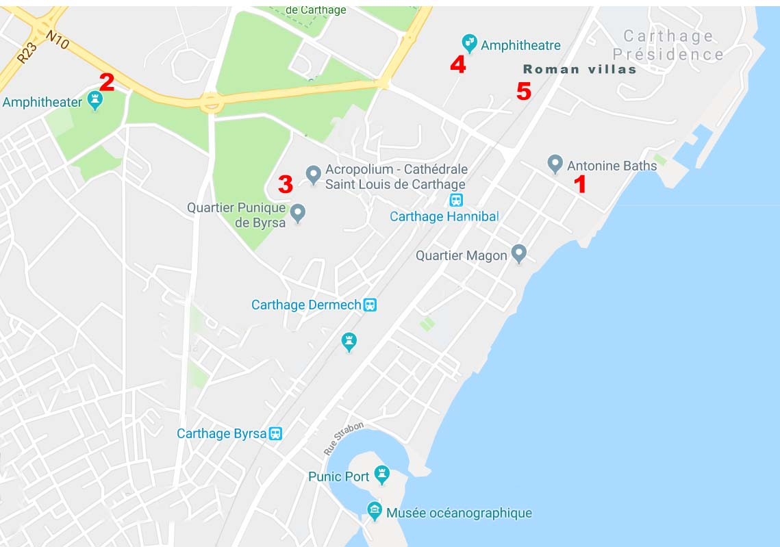 carthage map, carthage tunisia map, what to see in carthage, what to do in carthage, carthage route, how to visit carthage